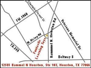 Map to Funtastic Learning Toys Northwest Houston Store