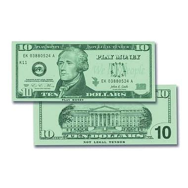 Ten Dollar United State Currency Bill - Learning Advantage