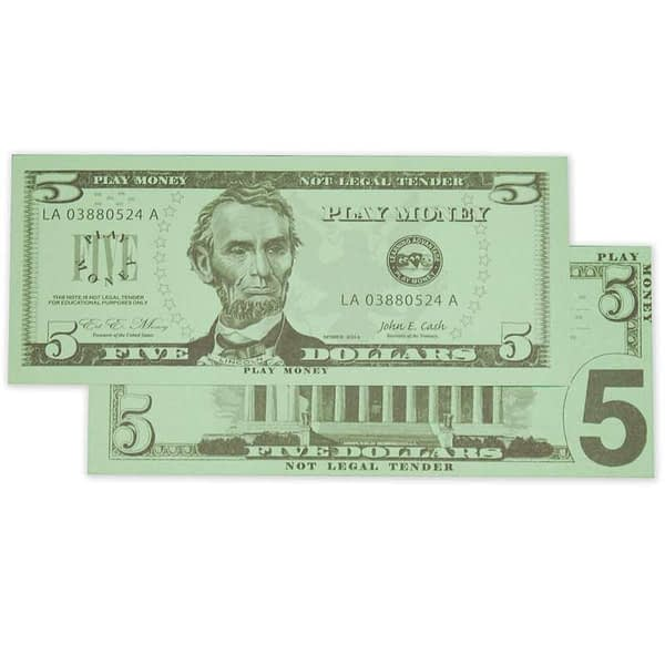 Five Dollar United State Currency Bill - Learning Advantage